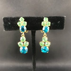 Vintage blue and green rhinestone drop clips